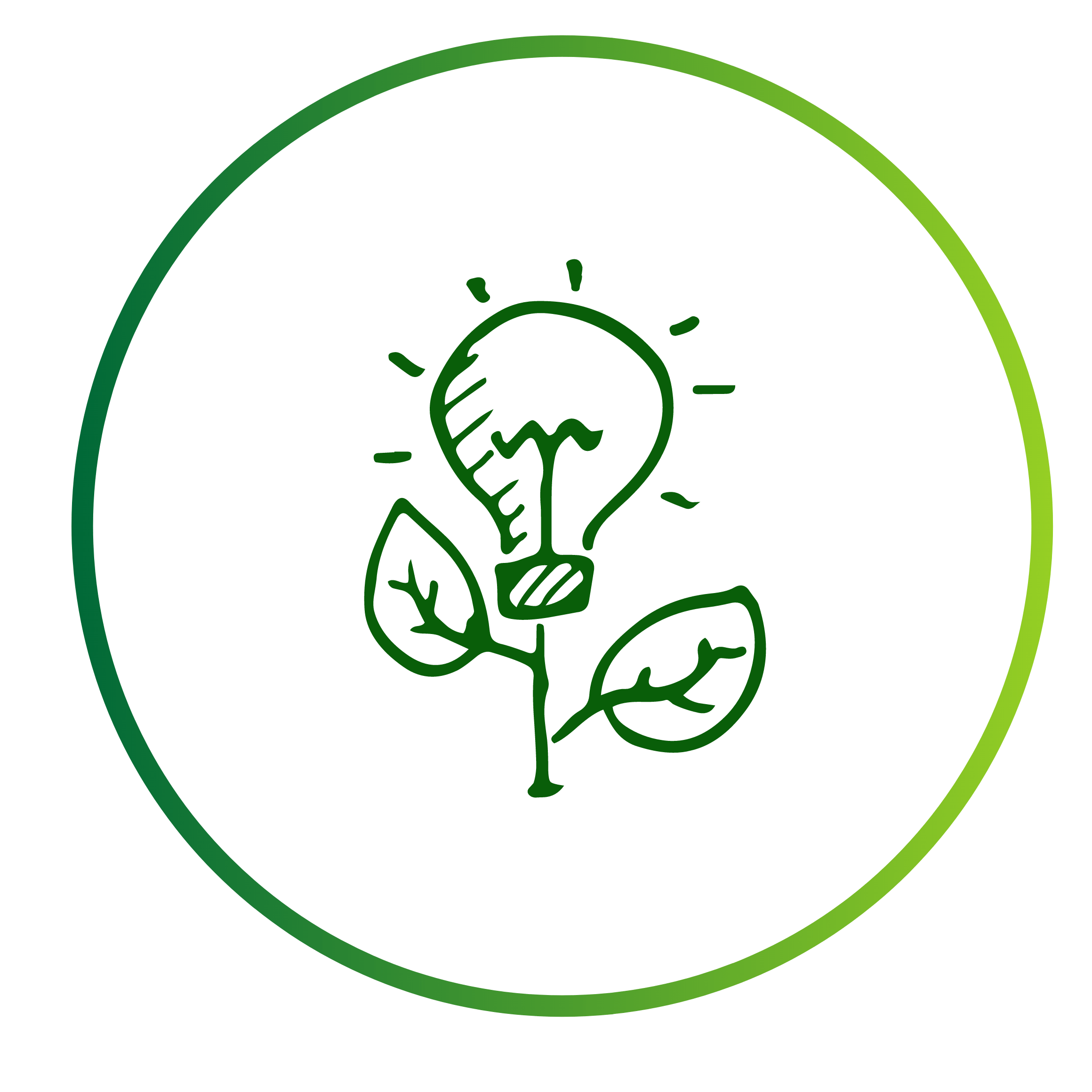 logo of plant growing with a lightbulb in place of flower